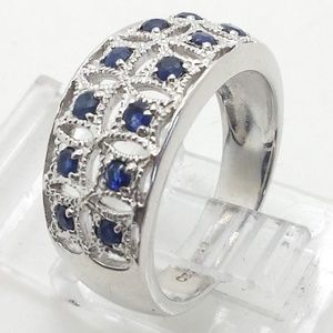 Silver Ring With Sapphires